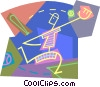 base ball player catching a ball Vector Clipart illustration