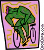 Vector Clip Art image  of a man riding bike