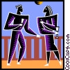 Vector Clip Art picture  of a two people talking and having