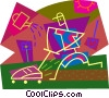 Vector Clip Art graphic  of a man cutting the lawn and