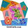 Vector Clipart graphic  of a person riding a bike