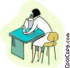 woman looking into an electronic microscope Vector Clipart picture
