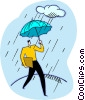 Vector Clipart illustration  of a man walking in the rain with