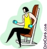 Vector Clipart picture  of a woman lifting dumbbells