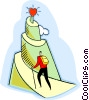 Vector Clipart illustration  of a man climbing a mountain