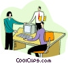 three people looking at a computer Vector Clip Art picture