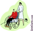 nurse pushing male patient in a wheelchair Vector Clipart picture
