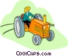 Vector Clip Art graphic  of a farmer on a tractor working