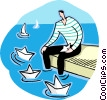 Vector Clipart graphic  of a man playing with paper boats