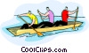 Vector Clip Art graphic  of a paddling in canoe