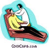Man in dentist chair, nurse checking teeth Vector Clip Art image