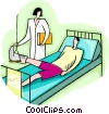 Vector Clip Art image  of a nurse checking patient with