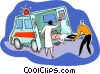 Vector Clipart graphic  of a person being loaded into