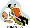 Vector Clipart graphic  of a nurse taking blood pressure