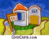 House for sale Vector Clipart illustration