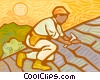 Vector Clipart illustration  of a Man putting shingles on roof