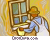 person painting window frame Vector Clip Art image