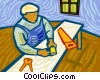 Vector Clip Art picture  of a man woodworking
