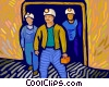 miners emerging from mine Vector Clipart illustration