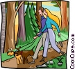 Vector Clip Art image  of a Couple walking through forest