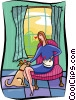 Vector Clip Art image  of a women petting dog