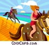 People riding horses on the beach Vector Clipart picture