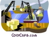 ship yard, loading boats Vector Clipart illustration