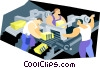 Vector Clip Art image  of a men working in factory