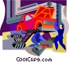 Vector Clip Art graphic  of an Auto mechanics fixing car