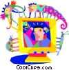 Vector Clip Art graphic  of a computer monitor with insects