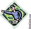 Vector Clipart graphic  of a disc jockey playing music