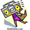 Vector Clip Art graphic  of a person caring a ghetto blaster