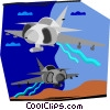 Vector Clip Art graphic  of a military jets