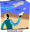 man with paper airplane looking at real airplane Vector Clip Art picture