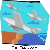 Vector Clip Art picture  of a military jets performing
