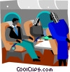being served drinks on plane Vector Clip Art image
