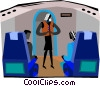 Vector Clip Art picture  of a stewardess giving instructions