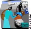people collecting luggage at airport Vector Clipart graphic