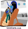 Vector Clipart image  of a people getting off plane