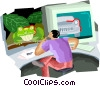Vector Clipart graphic  of a man at computer looking at
