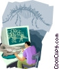 studying dinosaur bones Vector Clipart picture