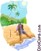 Man stranded on a deserted island Vector Clipart graphic