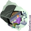 Vector Clip Art image  of a man playing piano and robot