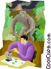 Vector Clip Art graphic  of a man studying pre historic