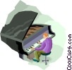 Vector Clip Art image  of a man playing piano