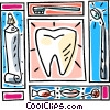 Tooth motif with toothbrush, tooth paste Vector Clipart illustration