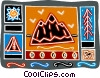 mountain motif with snow, trees, tent Vector Clipart picture