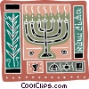 candelabra with bible, and the star of David Vector Clipart illustration