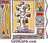 Vector Clip Art image  of a totem pole bow & arrow