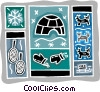 Vector Clip Art picture  of a igloo with snow shoes